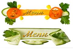Decorative menu. Decorative element with tomatoes Stock Photos