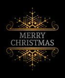 Decorative Merry Christmas inscription. Merry Christmas inscription. Decorative gold and silver textured design element. Vintage label, frame, border, badge Royalty Free Stock Photography