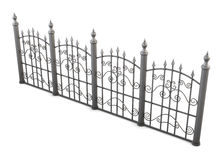 Decorative metal fence view angle on a white background. 3d rendering Stock Photos