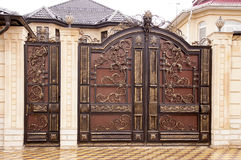 Decorative metal gates. Beautiful modern decorative metal gates Royalty Free Stock Photo