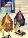 Decorative metal Helmets Of Warriors Of Turkish Ottoman Time. Decorative metal Helmets Of Warriors Of Turkish Ottoman empire royalty free stock image