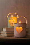 Decorative metal lanterns with glowing hearts Stock Photography