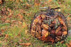 Decorative metal pumpkin and potpourri Stock Images