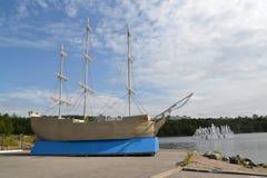 Decorative model of the three-mast sailing ship. Murmansk Stock Photo