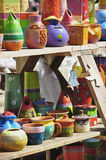 Decorative modern pottery. Handmade decorated pottery exposed at a pottery fair in Sibiu, Romania stock image