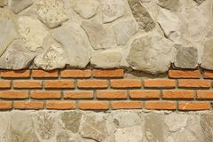 Decorative Modern White Stonewall With Red Bricklaying Backgroun Stock Photography