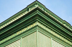 Decorative molding. Green coloured decorative molding in different shapes made of wood Royalty Free Stock Photos