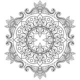 Decorative ethnic mandala pattern. Anti-stress coloring book page for adults. Unusual flower shape. Oriental vector stock illustration