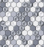 Decorative monochrome texture with realistic lightning surface made of repeating hexagonal tiles Royalty Free Stock Images