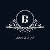 Decorative monogram. Design element with space for text. Vector illustration Vector Illustration