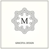 Decorative monogram. Design element with space for text. Vector illustration Royalty Free Illustration