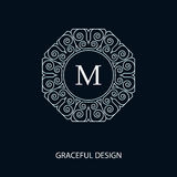 Decorative monogram. Decorative vector monogram for graphic design. Round frame. Element for logo design, place for text. Vector illustration vector illustration