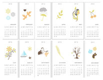 Decorative monthly calendars. Set of twelve decorative monthly calendars for 2012 yaer Stock Photography
