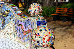 Decorative Mosaic Bench with various Tiles Royalty Free Stock Image