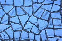 Decorative Mosaic of Broken Blue Tiles Royalty Free Stock Image