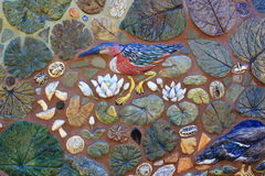 Decorative Mosaic Tile Birds and leaves Stock Images