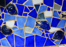 Decorative Mosaic Tile Blue fish Royalty Free Stock Photo