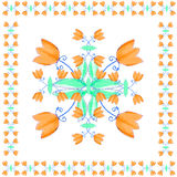 Decorative motif with flowers for napkins, shawls and handkerchiefs Royalty Free Stock Photo