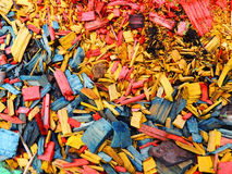 Decorative mulch of wood chips. Color background Stock Image