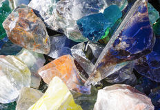 Decorative multi-colored glass stones. Closeup of decorative glass stones used for outside landscaping Stock Image