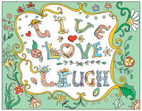 Decorative multicolor  poster live love laugh Stock Images