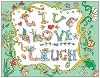 Decorative multicolor  poster live love laugh Stock Images