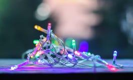 Decorative multicolored lights garland. Decorative multicolored small lights garland stock image