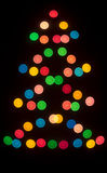 Decorative multicolour lighting in Christmas tree Royalty Free Stock Image