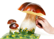 Decorative mushroom money box Stock Images