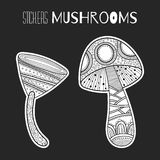 Decorative mushrooms. Black, white stickers isolated for coloring book Royalty Free Stock Photos