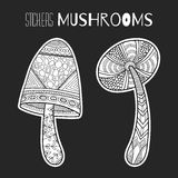 Decorative mushrooms. Black, white stickers isolated for coloring book Royalty Free Stock Photo