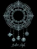 Decorative mystical circle with a beads ethnic jewelry. Stock Photography