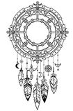 Decorative mystical circle with a beads and ethnic jewelry. Royalty Free Stock Images