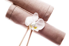 Decorative napkin with orchids Stock Photos