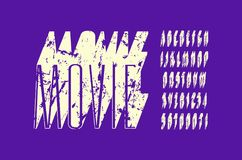 Decorative narrow sans serif extra bulk font. Letters and numbers with rough texture for logo and title design. White print on violet background Stock Images