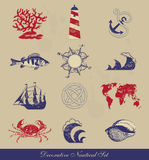 Decorative Nautical Set Stock Photo