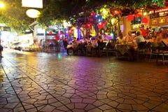 Decorative neon lights in street, Bangkok Stock Images