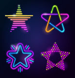 Decorative neon stars Royalty Free Stock Photo