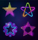 Decorative neon stars Royalty Free Stock Photo
