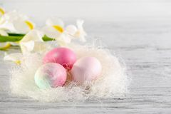 Decorative nest with dyed Easter eggs and spring flowers on table royalty free stock images