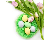 Decorative nest with dyed Easter eggs and spring flowers on white background stock photo