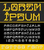 Decorative new school tattoo font. Decorative, new school tattoo inspired typeface in modern performance. This font includes 2 sets of characters and numerals Royalty Free Stock Image