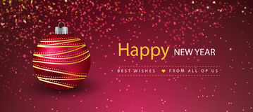 Decorative new year banners with christmas ball. Vector vector illustration