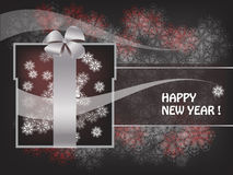 Decorative New Year postcard. With box and snowflakes Stock Photos