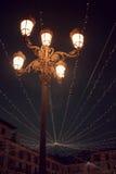 Decorative night lighting. Of a village celebration Royalty Free Stock Image