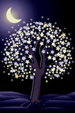 Decorative night tree wallpaper, vector Royalty Free Stock Images