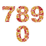 Decorative numerals with natural orange pattern. Flowery digits, Stock Photo