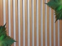 Oba leaves on wooden fence. Decorative Oba leaves placed on  brown wooden fence Stock Photo