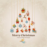Decorative objects in Christmas tree silhouette Stock Photos