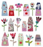 Decorative objects. Colorful quilt design with fabric and paper Stock Photo